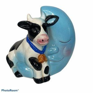 Vintage Cow Moon Ceramic Coin Bank Baby Boy Blue M